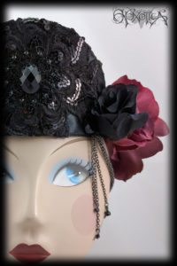 Black Tiara Red Flower Crown 'Gabrielle' by Hexotica