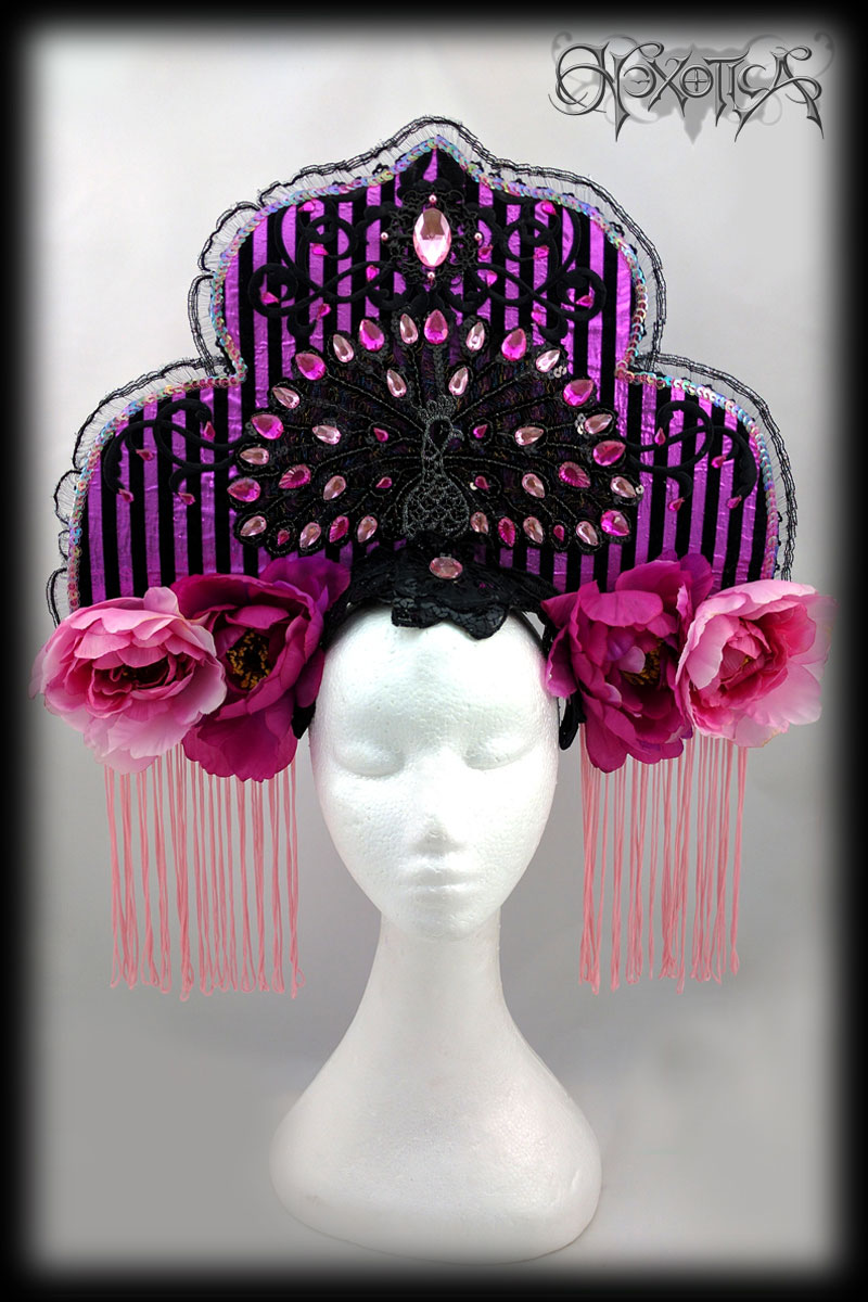 carnival headdress pink black