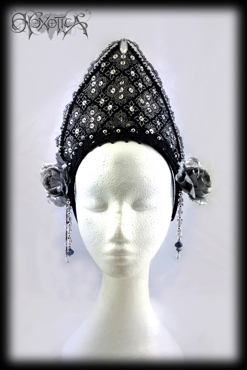gothic tiara headdress black silver