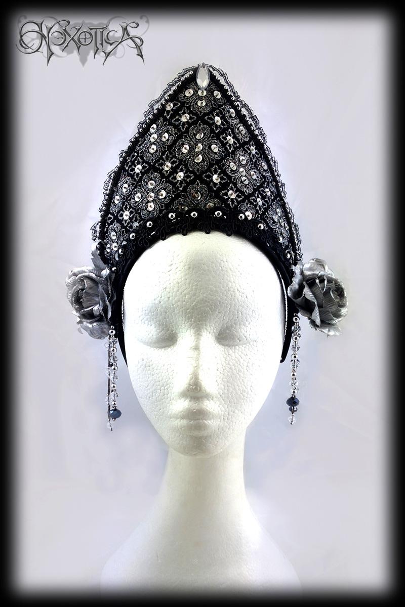 gothic tiara headdress black silver