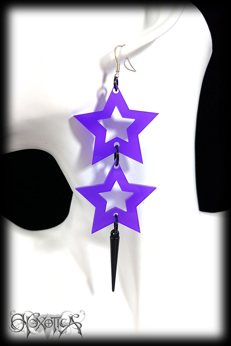 Laser Cut Purple Star and Spike Drop Earrings
